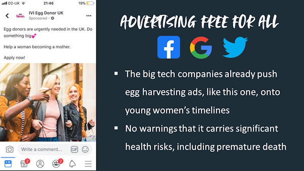 Advertising egg harvesting to young women