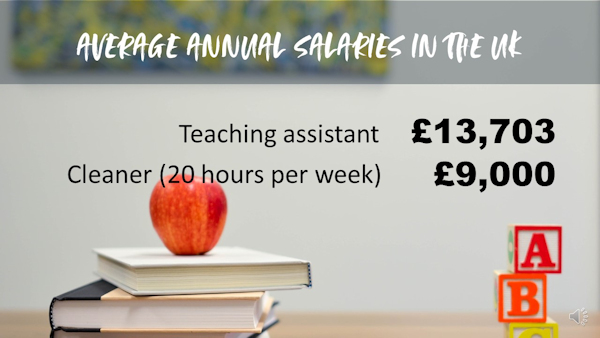 Average annual salaries of teaching assistants and cleaners in the UK