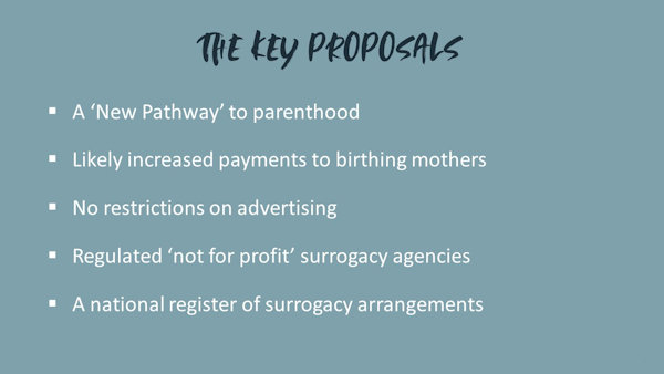 The key proposals of the surrogacy consultation