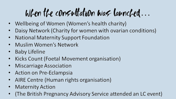 Women's groups involved with the launch of the surrogacy consultation